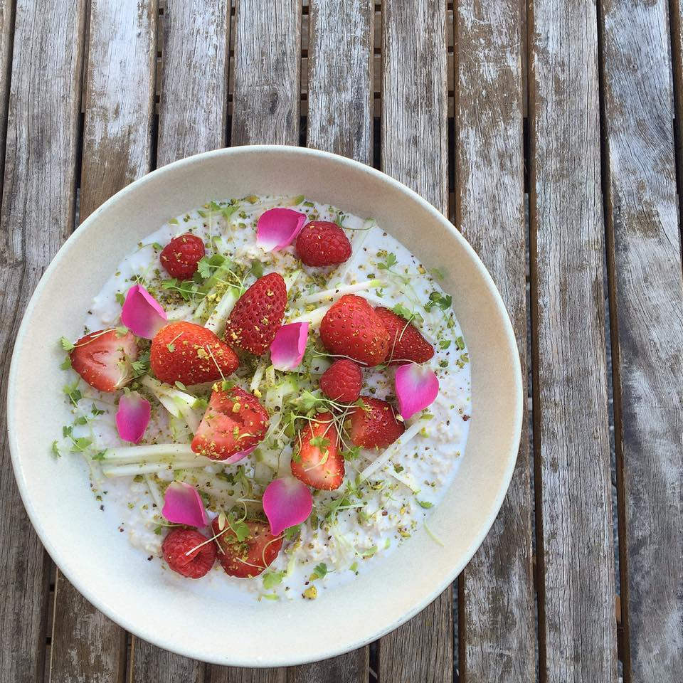 Rosewater, pistachio and coconut bircher | Courtesy of Little Bird Cafe