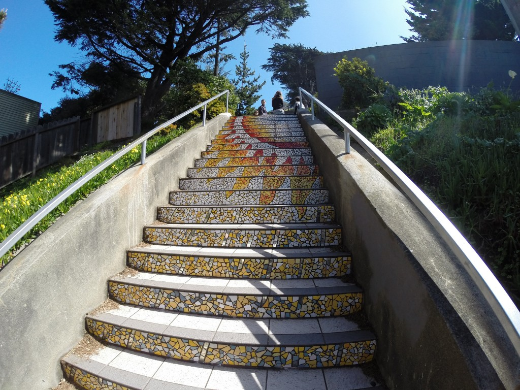 The 16th Avenue Tiled Steps Project Moraga Street between 15th and 16th Aves., San Francisco, CA, USA - http://www.tiledsteps.org/ - The 16th Avenue Tiled Steps project has been a neighborhood effort to create a beautiful mosaic running up the risers of the 163 steps located at 16th and Moraga in San Francisco.
