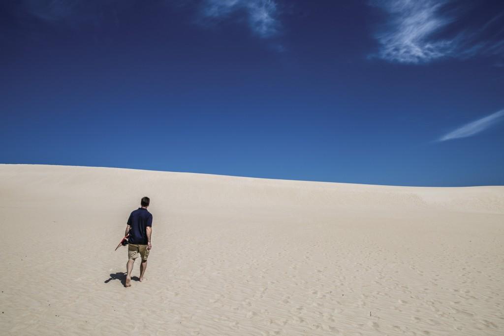 Sandboarding at Little Sahara, Kangaroo Island, SA | Courtesy of Tourism Australia © Greg Snell