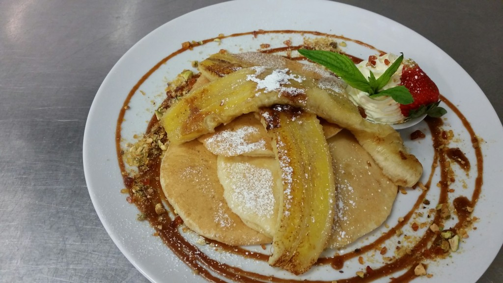 Banana pancakes with salted caramel sauce | Courtesy of Food For Me