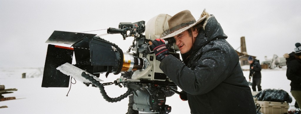 Director Quentin Tarantino on set during the production of THE HATEFUL EIGHT (2015) Credit: The Weinstein Company