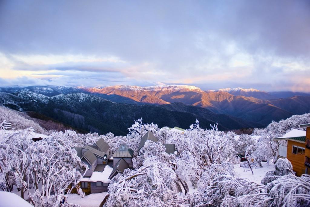 Mt Buller Village in the snow   Courtesy of Mt Buller © Andrew Railton