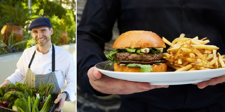 Chef Oliviers and the Nous Burger (credit: Kevin Marple)