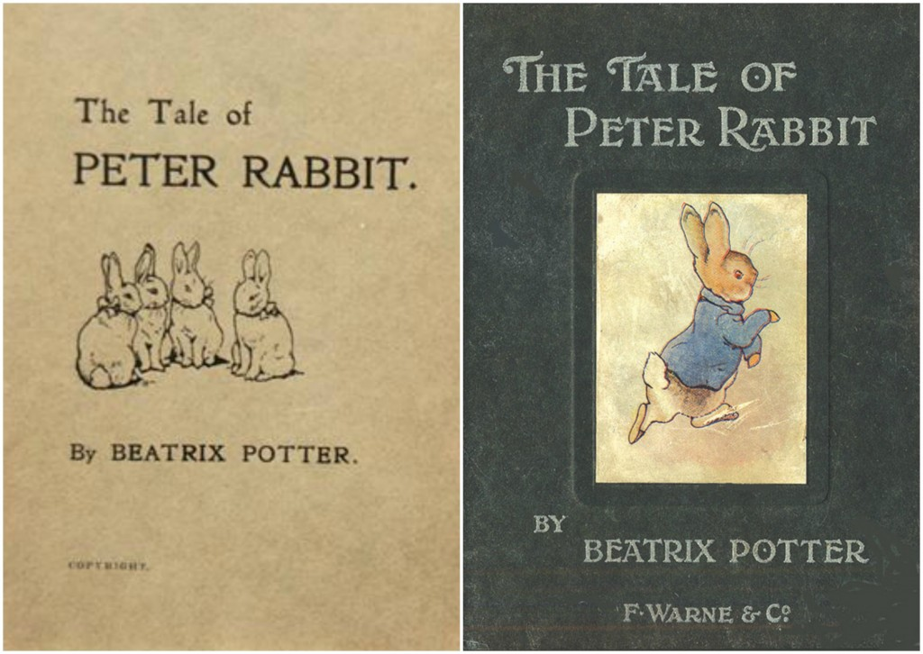 Cover of the first, privately printed edition of The Tale of Peter Rabbit by Beatrix Potter | © Peter Harrington Bookseller on ABE Books / WikiCommons // Cover of the first edition, The Tale of Peter Rabbit (1902) | © Aleph-bet Books / WikiCommons
