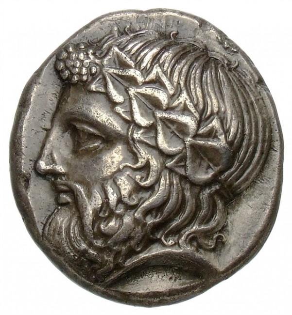 Thasos (Vorderseite: Kopf des Dionysos). Tetradrachme, 24 mm, ca. 400-350 v. Chr.   © Staatliche Museen zu Berlin