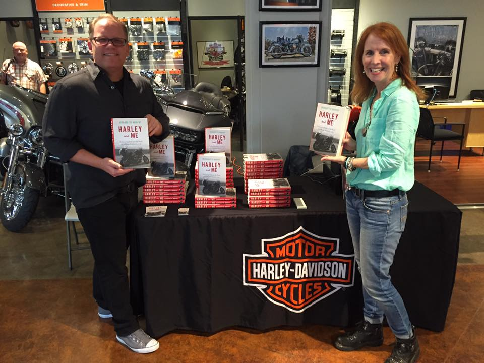 Dan Smetanka and author Bernadette Murphy at Harley Davidson of Glendale