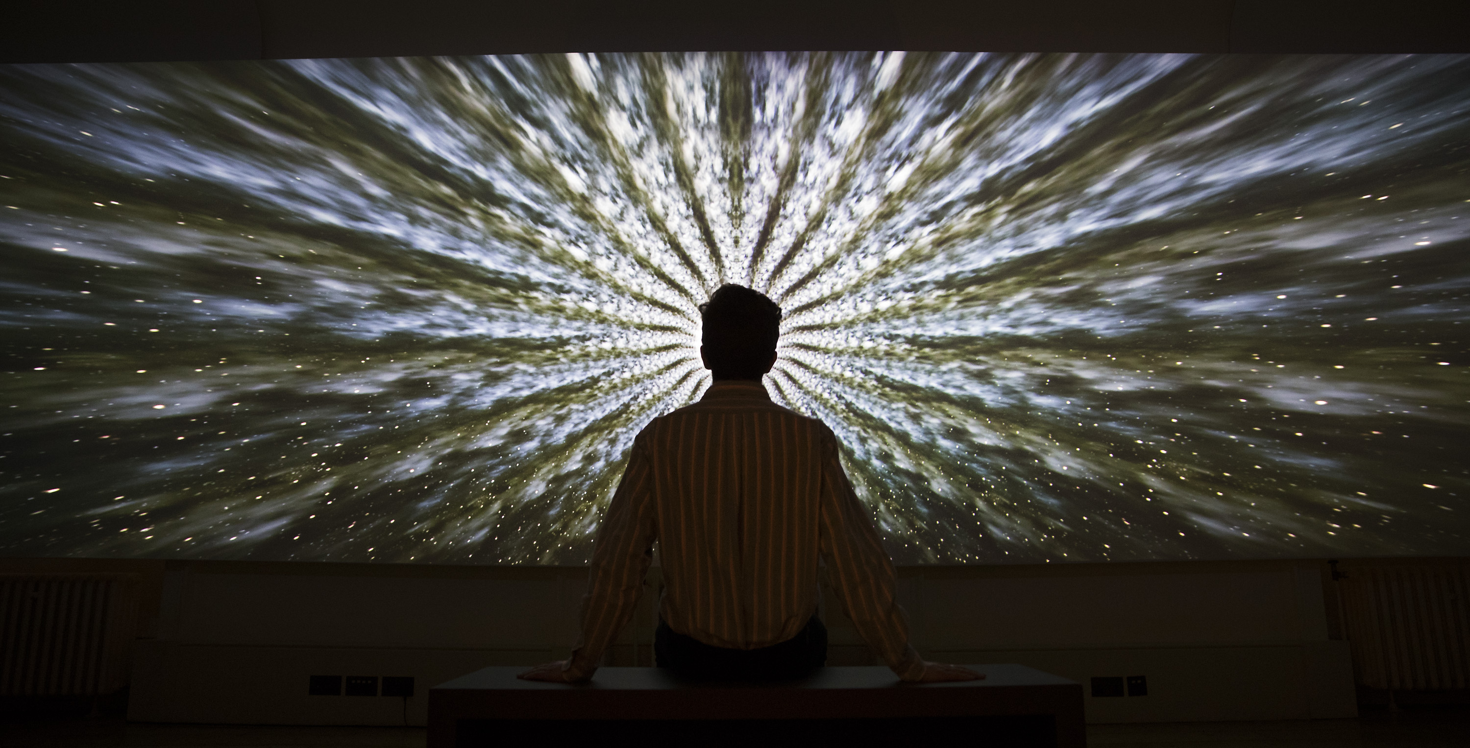 A visitor views Beyond the Infinite, 2016 by artist Doug Foster at the exhibition Daydreaming with Stanley Kubrick in partnership with Canon at Somerset House in London. Photo by Peter Macdiarmid| ©London News Pictures/LPN