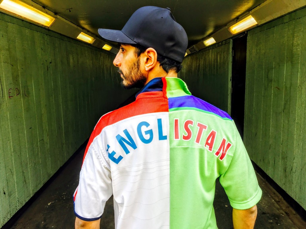 Riz Ahmed in his Englistan top. (https://rizmc.bandcamp.com)