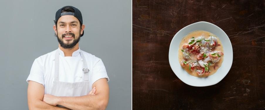 Executive Chef Louis Tikaram (credit: Stan Lee) and Kokoda dish (credit: Dan Collopy
