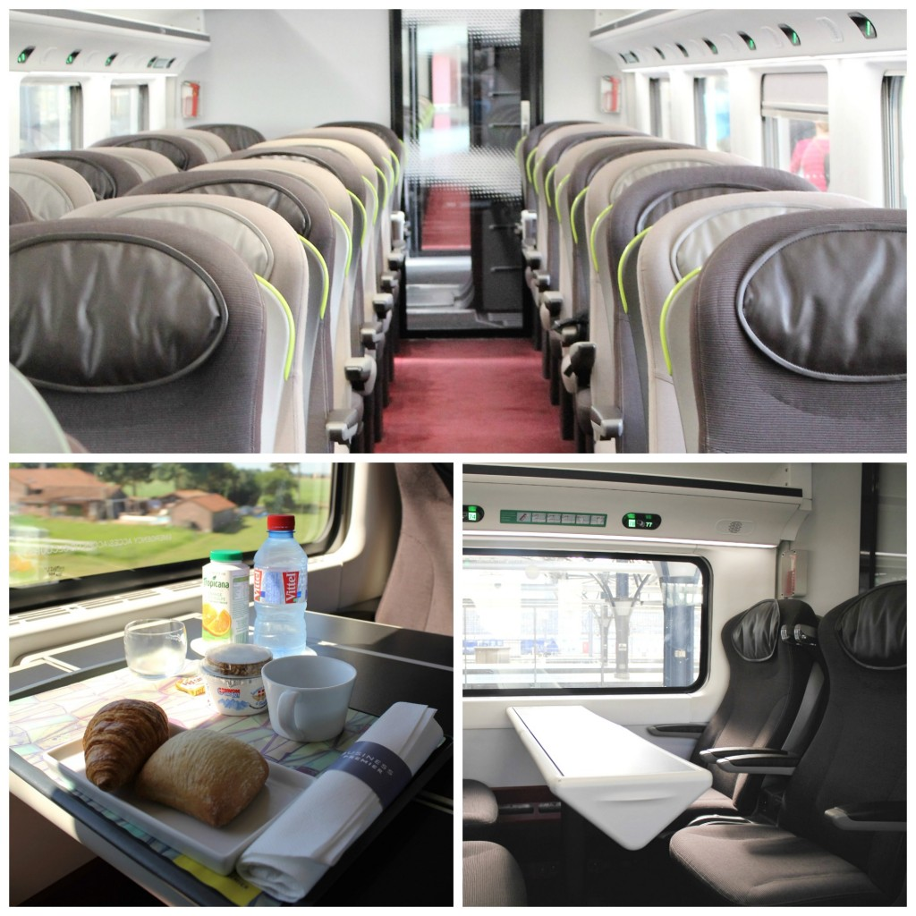 (Above) Eurostar rolls out the red carpet, (Below left) Have a snack while enjoying the on board entertainment, (Below right) Spacious seating equipped with all travel necessities | Courtesy of Anne Boyle