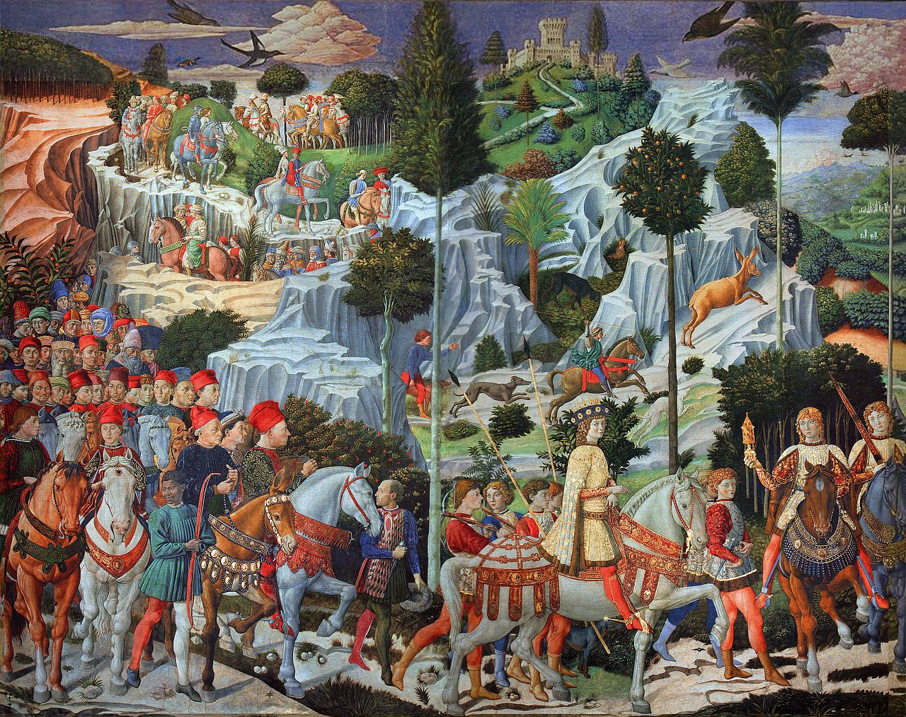 Benozzo Gozzoli, Procession of the Magi, 1459-61 | © La Capella dei Magi/WikiCommons