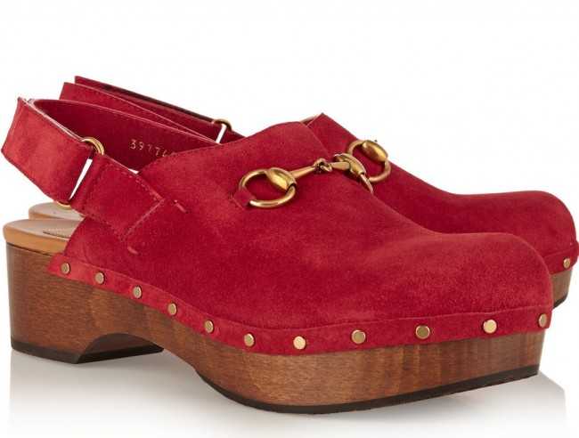Gucci, horsebit-detailed suede clogs, £490