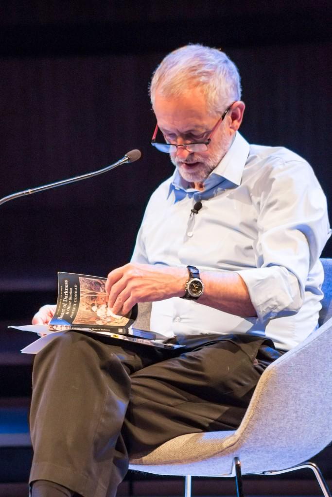 Jeremy Corbyn reads an 'arrogant' pro-European passage in Joseph Conrads 'Heart of Darkness', a book Okri desribes as troubling ©Adam Weatherley/Southbank Centre