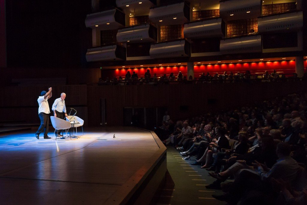 Ben Okri and Jeremy Corbyn on stage at the Southbank's Royal Festival Hall ©Adam Weatherley/Southbank Centre