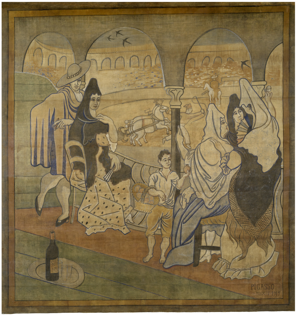 """Pablo Picasso, Curtain for the Ballet """"Le Tricorne,"""" 1919. Tempera on canvas, ca. 20 x 19 feet. New-York Historical Society, Gift of New York Landmarks Conservancy, Courtesy of Vivendi Universal, 2015.22. © 2015 Estate of Pablo Picasso / Artists Rights Society (ARS) New York"""