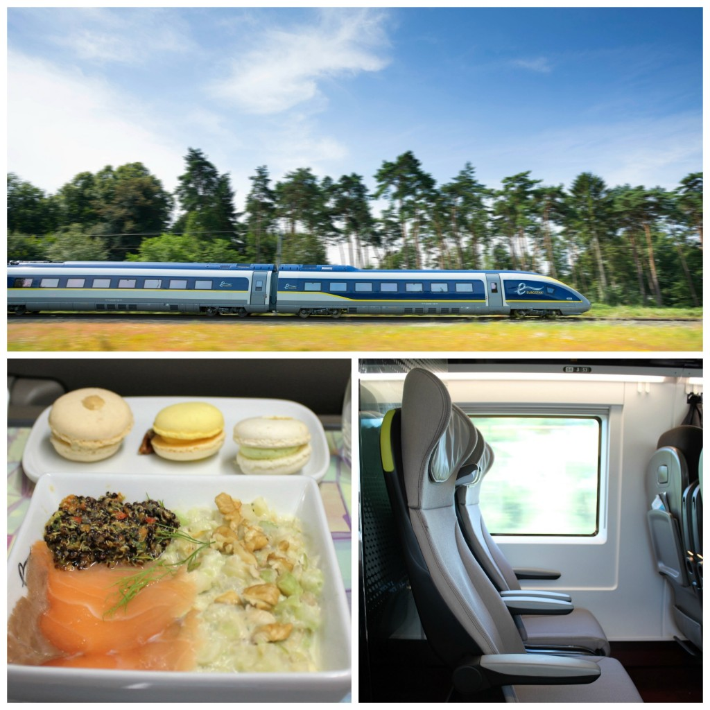 (Above) Eurostar e320 whizzes through the countryside | © Eurostar, Courtesy of Rob Haycocks, (Below left) Enjoy an afternoon meal by renowned Michelin starred chef Raymond Blanc, (Below right) All the comforts of home in Business Premier | Courtesy of Anne Boyle