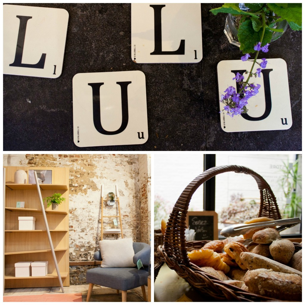 (Top) Lulu Café & Home Interior, (bottom left) the home interior showroom, (bottom right) help yourself to a fresh croissant for breakfast | Courtesy of Maya Bond