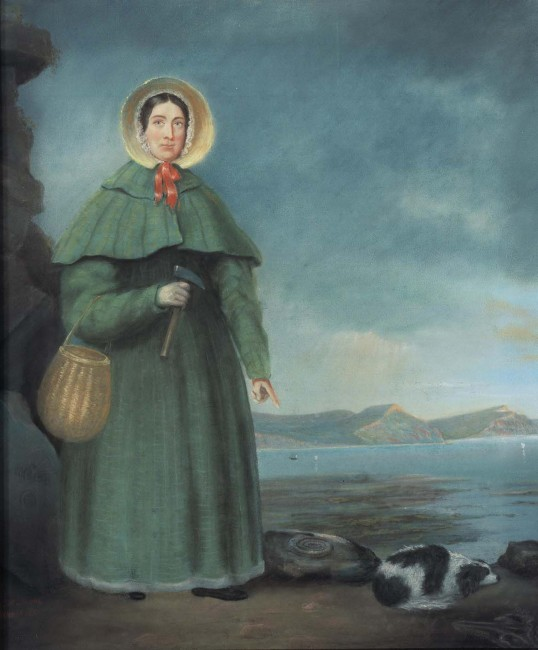 Portrait of Mary Anning and her dog, with the Golden Cap of the Jurassic Park in the background | © B. J. Donne/Wikicommons