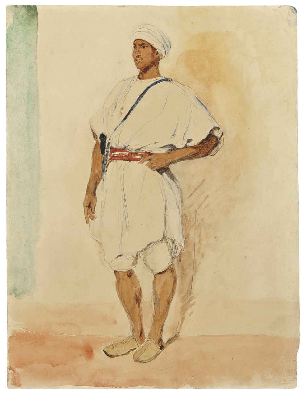 Eugene Delacroix, A Standing Moroccan Man|Courtesy of Stephen Ongpin Fine Art