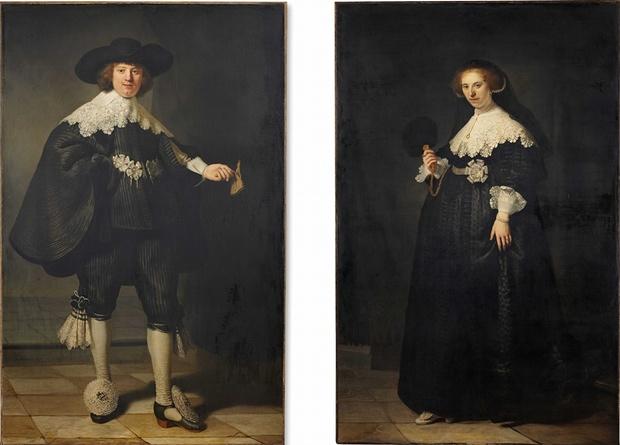 Rembrandt, Portrait of Marten Soolmans and Portrait of Oopjen Coppit, 1634 | © Rijksmuseum and the Louvre/WikiCommons