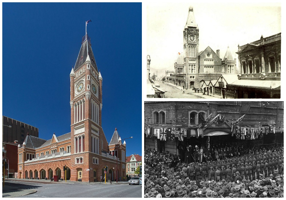 Perth Town Hall today | © JJ Harrison / WikiCommons // Perth Town Hall 1891 | © Francis Hart / WikiCommons // Unveiling of a centenary tablet at Perth Town Hall 1929 | © Unknown / WikiCommons