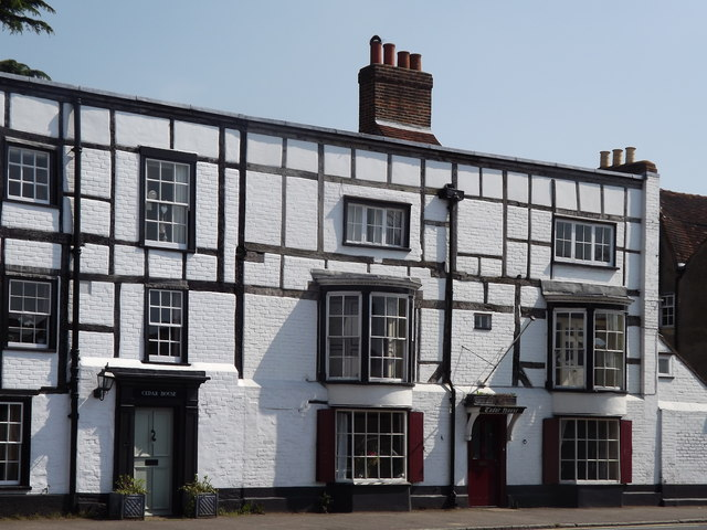 Timber-framed buildings on Ripley's main road, once part of The George Inn ©Colin Smith/Geograph.org