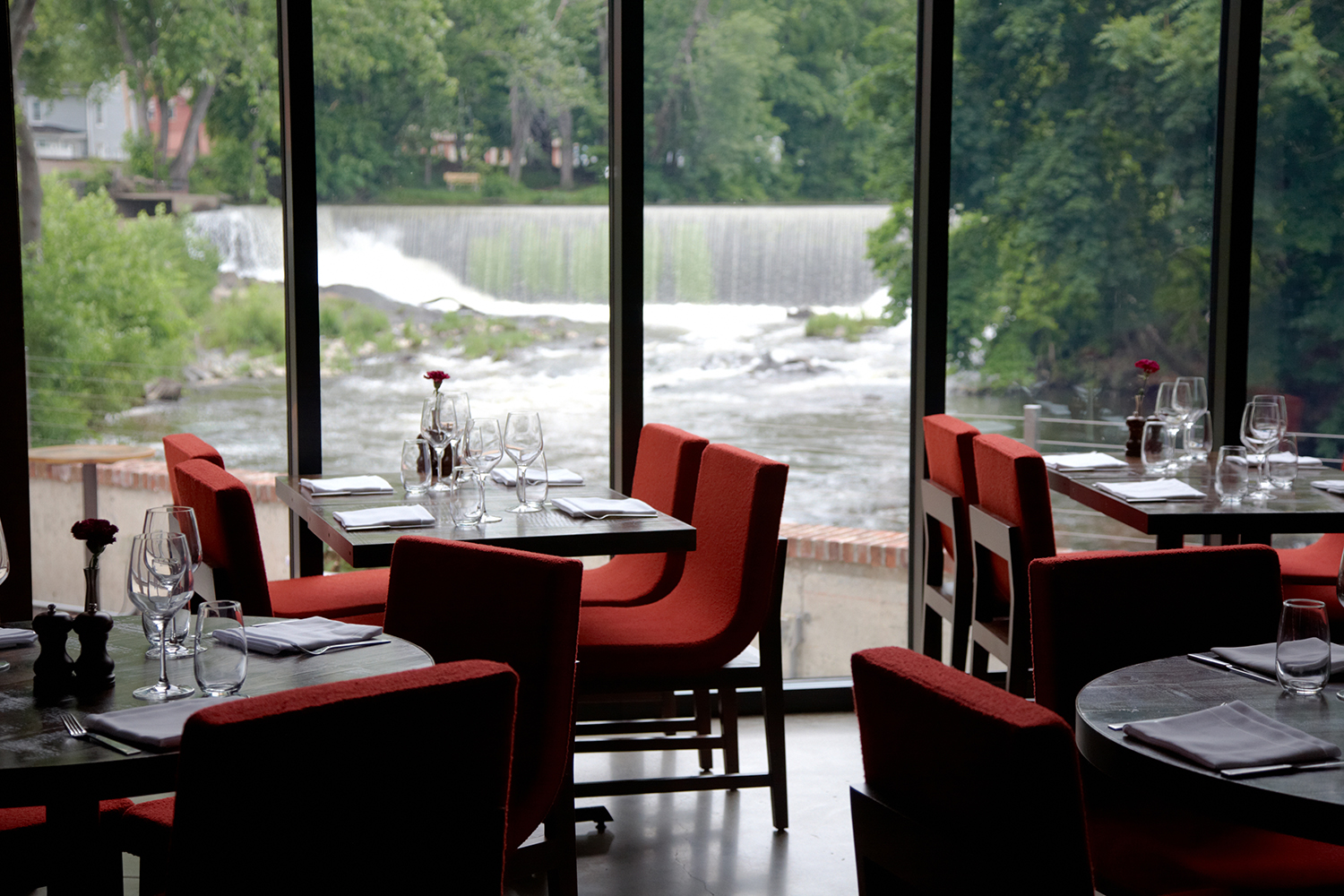 View of Beacon Falls from the restaurant at The Roundhouse, main dining room | © Teresa Horgan