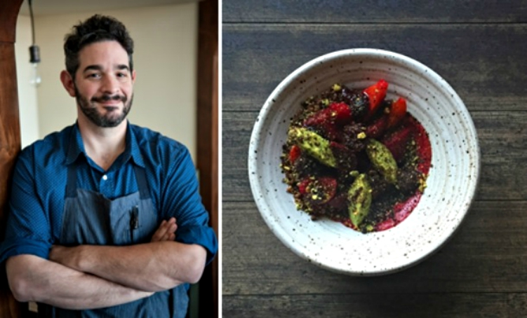 Chef Jeremy Fox (credit: Emily Hart Roth) and the Beets & Berries (credit: Jeremy Fox)