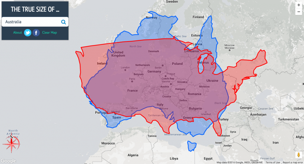 The true size of Australia (blue) and the United States (red) overlaying Europe | Courtesy of thetruesize.com