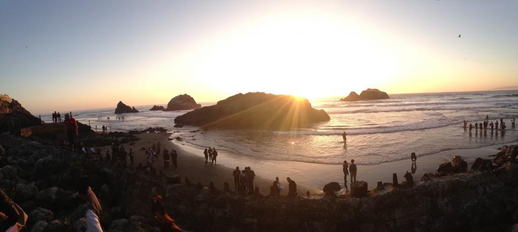 Sunset from the beach at Sutro Baths © Danielle Chemtob