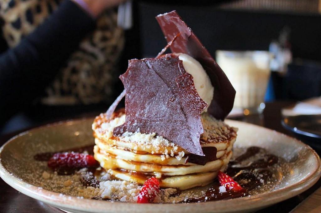 Buttermilk pancakes, salted caramel + chocolate, nut praline vanilla bean ice-cream | Courtesy of The Precinct © @goodfoodofperth