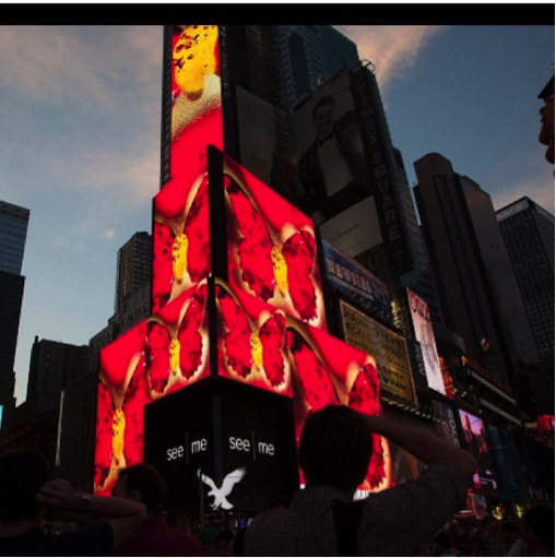 Marisabel's work in Times Square | Courtest of the artist