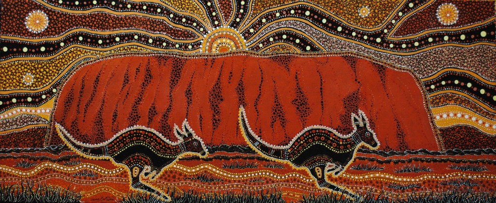 Photo of a painting of Uluru, by the famous Aboriginal artist, Danny Eastwood | Courtesy of Karlangu Aboriginal Art Centre
