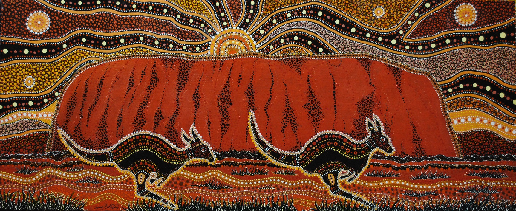 Painting of Uluru by Aboriginal Artist Danny Eastwood. Image courtesy of Karlangu Aboriginal Art Centre. SOURCE: theculturetrip.com