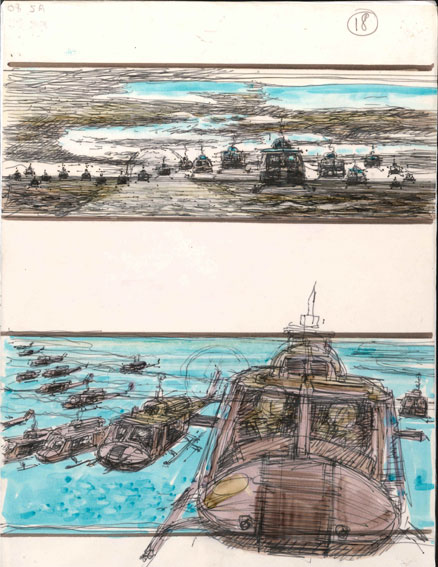 Colour storyboard artwork of the famous helicopter attack scene from Apocalypse Now which was set to the music of Wagner's Ride of the Valkyries|© Courtesy of American Zoetrope/IWM