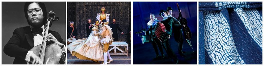 Yo-Yo Ma/© music2020/Flickr | Merchant of Venice/© Manuel Harlan/Courtesy ABA Media | The Tiger Lillies Perform Hamlet/Courtesy Hong Kong Leisure and Cultural Services Department | Shibori/CC BY-SA 3.0/Wikimedia Commons