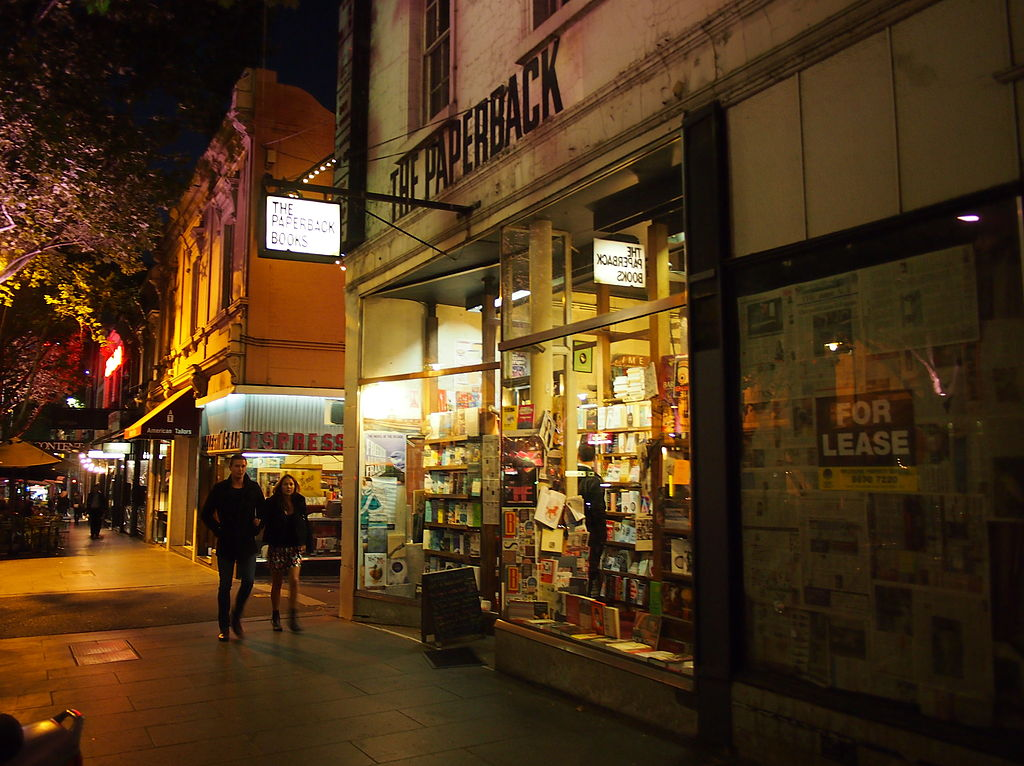 bookshop australia night melbourne paperback dec bookstores street wikicommons nick literary capital