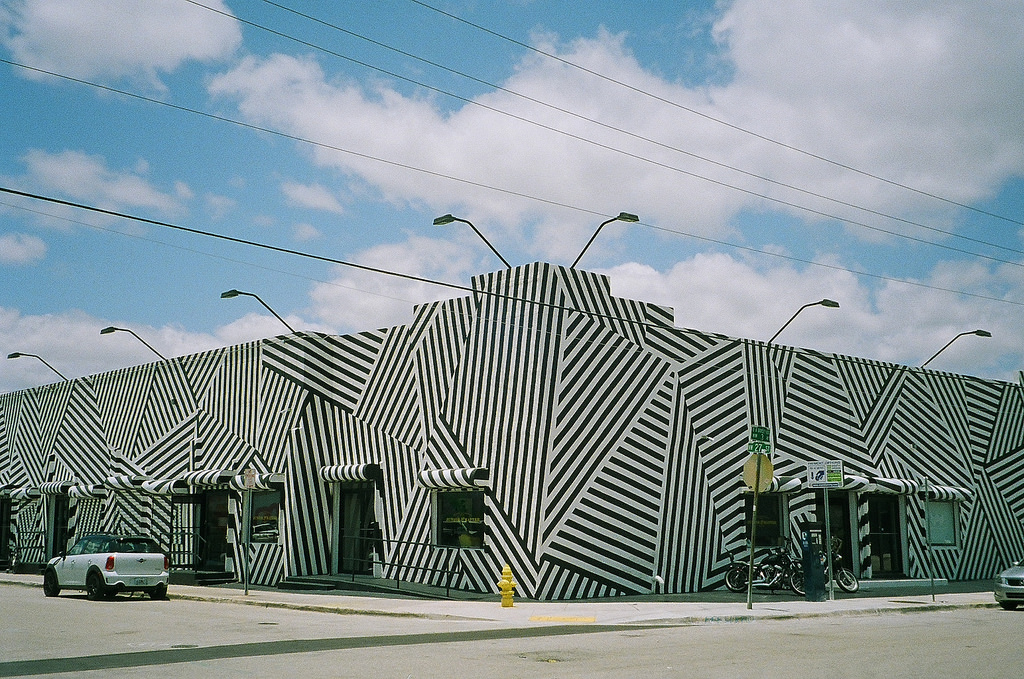 The Iconic Wynwood building and its black and white stripes | Phillip Pessar/Flickr