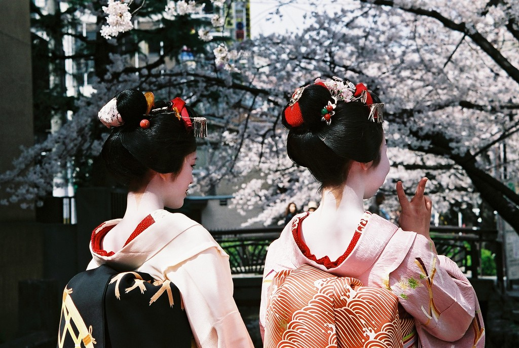 Maiko or some very convincing visitors admire the blossoms © Kate Nevens/Flickr