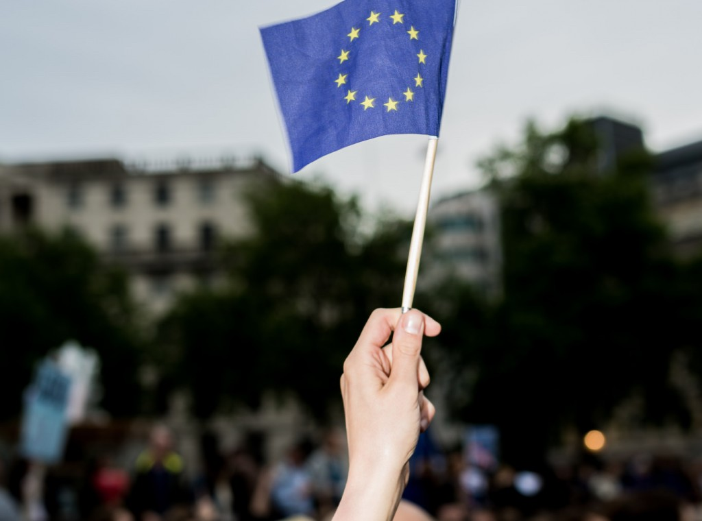 A European flag being waved at a pro-'Remain' event in June | © Ed Everett/Flickr