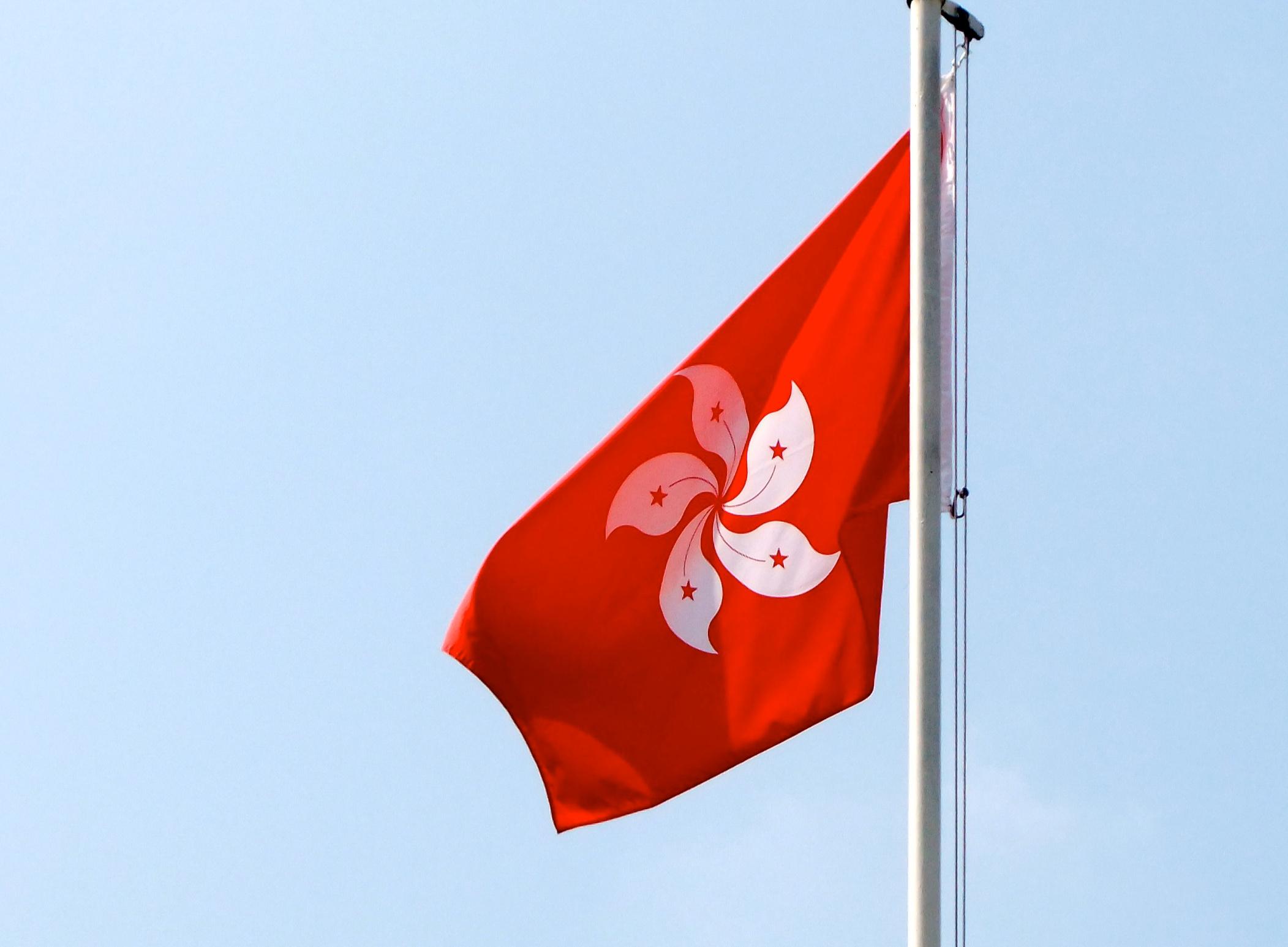 Flag Red Background White Flower
