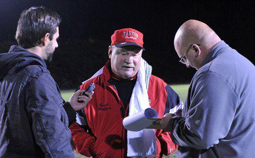 Easton football coach Steve Shiffert talks to the media   © Michael LoRe