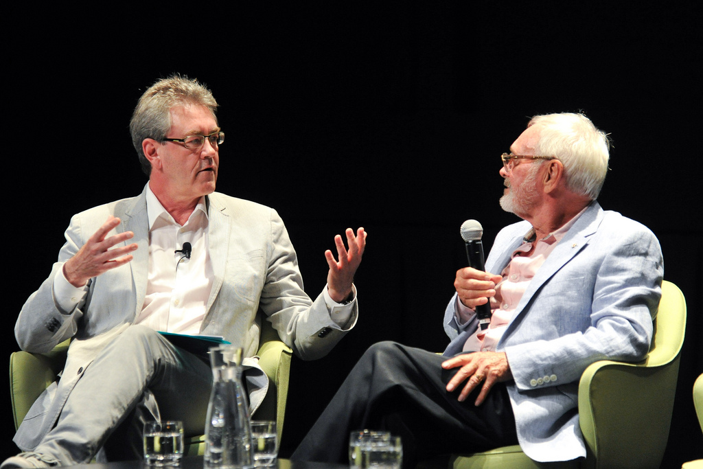 Piers Handling and Norman Jewison onstage at TIFF Bell Lightbox | © Canadian Film Centre/Flickr