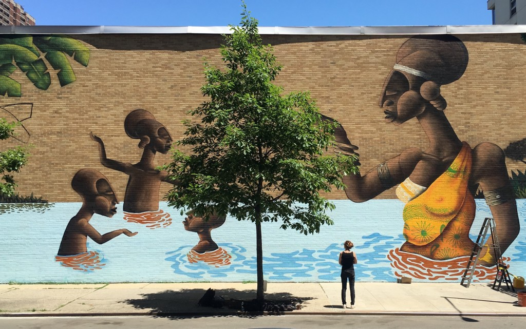 Mural by Alexandre Keto on 120th Street   © Not A Crime Campagin