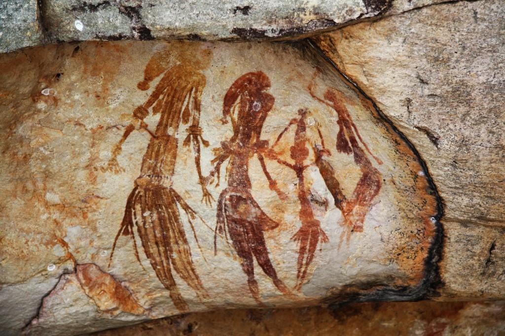 Bradshaw rock paintings in the Kimberley region of Western Australia, taken at a site off Kalumburu Road near the King Edward River.   © TimJN1 / WikiCommons
