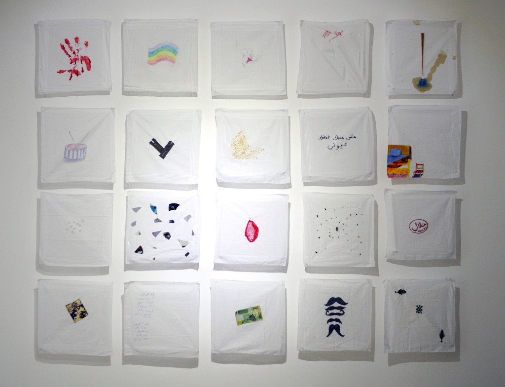 Virginity Kerchiefs, 2013, installation | Courtesy of Zawyeh Gallery