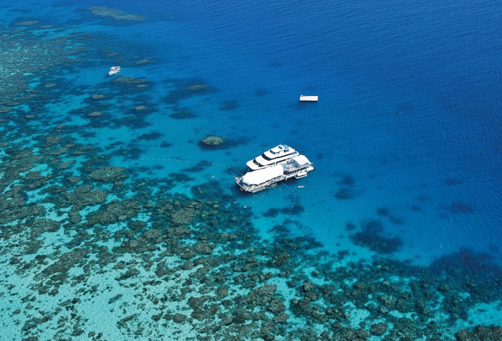 Great Adventures Pontoon and Vessel, Norman Reef, Great Barrier Reef, QLD | Courtesy of Tourism and Events Queensland © Christian Botella