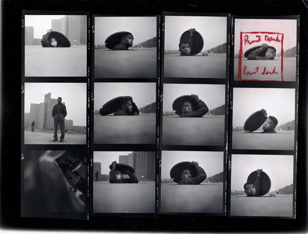 "Gordon Parks. Contact Sheet, ""A Man Becomes Invisible,"" Life story no. 36997, 1952. The Gordon Parks Foundation."