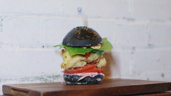 Tempura Soft shell crab charcoal bun burger