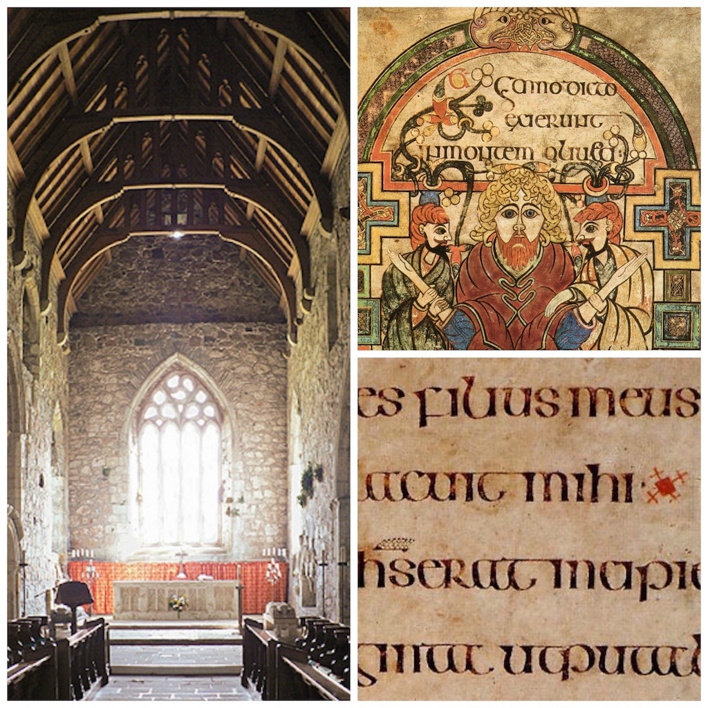 Iona Abbey Church   © Oliver-Bonjoch/WikiCommons   A text folio from the Book of Kells   © manuscript_nerd/Flickr   Detail from Book of Kells, Folio 114v, Arrest of Christ   © Public Domain/WikiCommons
